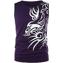 Internet_Moda de Verano Hombre Camiseta sin Mangas con Estampado de Dragones sin Mangas para Hombre,