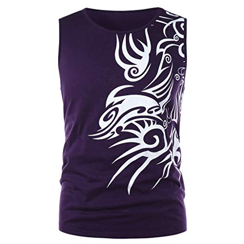 Fenverk Herren Fitness Muskel Gym SaugfäHige Weste Bodybuilding Lift Stringer Tank Top Trainingsweste Men Shirt T-Shirt Wings Print Sport Vest Muscleshirt(Lila,XXL)