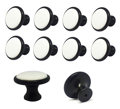 ShipeeKin - 10 pomos de cerámica estilo retro, estilo vintage, 35 mm, para muebles, cajones, armarios, baños, etc. (parte inferior negra y superficie blanca)