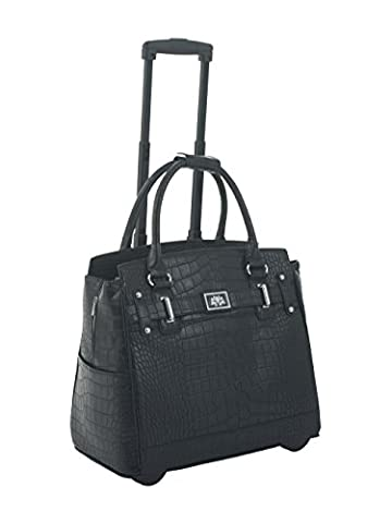 BLACK CROCODILE ALLIGATOR ROLLING iPad TABLET OR LAPTOP TOTE HOLDALL BAG CASE