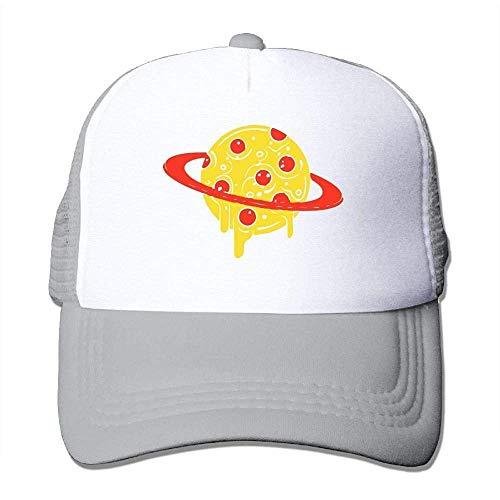 Hoswee Unisex Kappe/Baseballkappe, Pizza Planet Men Mesh Back Core Baseball Cap Air Mesh Polyester Cap -