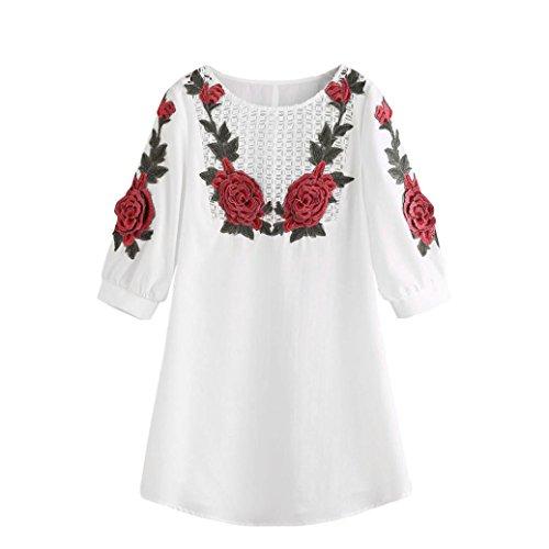 Sommerkleider Damen VENMO Frauen Weiße Stickerei Spitze Abendkleid Weiß