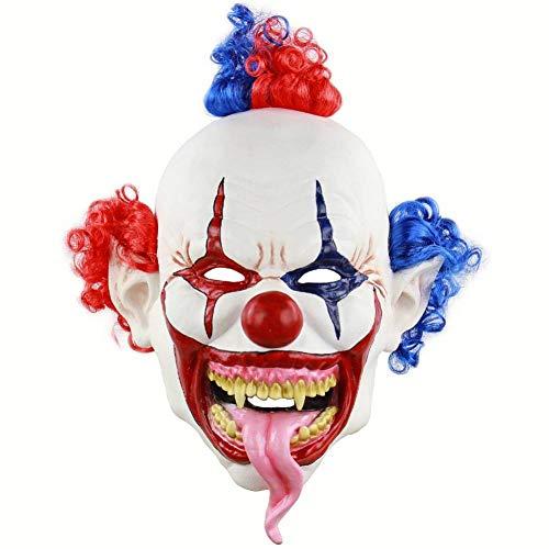 RYTHN Maske Scary Clown Masken Halloween Party Maske Snake Tongue Evil Creepy Latex Gehörnt Die Clown Overhead Maske -
