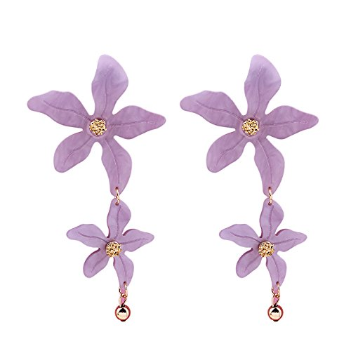 Neue kreative Blume Ohrringe lange Ohrstecker Trinkets koreanische Gesicht dünn, hell lila