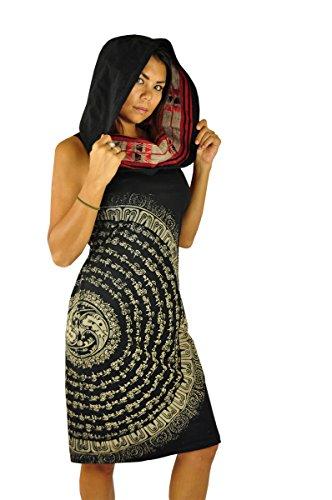 virblatt - Schwarzes Hippie Kleid Ethno Kleid perfekt als Hippie Kleidung Hippie Mode und Alternative Kleidung -Atemberaubend XSM