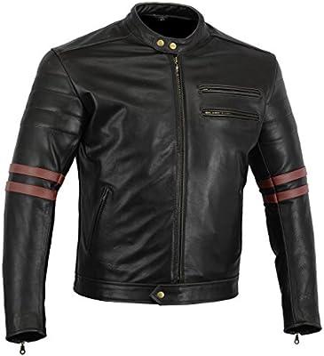Bikers Gear UK chaqueta moto Cafe Racer en color negro envejecido y rojo oxblow con protecciones homologadas y extraíbles talla L