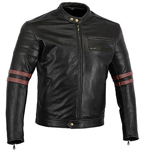 Bikers Gear The Rocker Motorcycle Black Leather Cafe Racer Jacket CE Armoured, Oxblood, 3XL