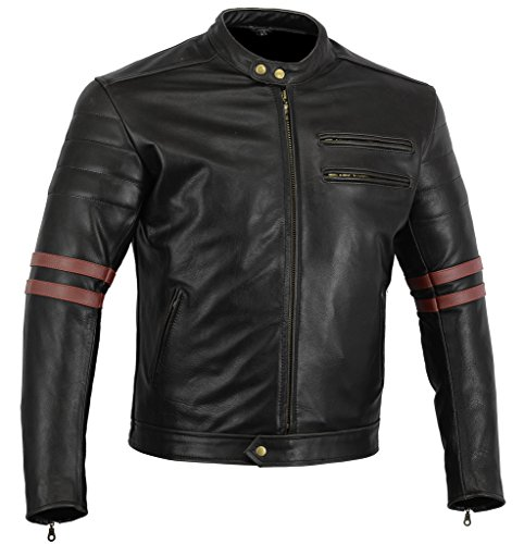 Bikers-Gear-UK-GIACCA-in-PELLE-da-MOTO-VINTAGE-CUSTOM-CAFE-RACER-TAGLIA-L