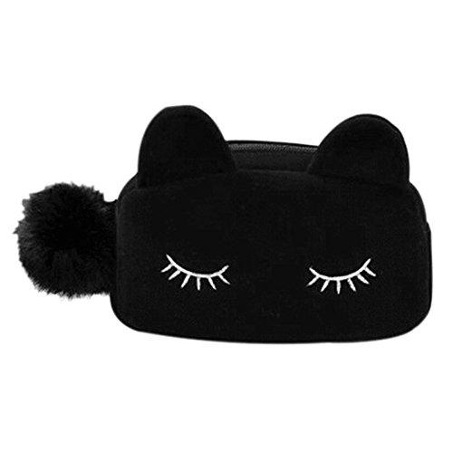 lumanuby 1 x Lindo chat Tissu Stockage Organiseur Sac de Maquillage Sac de Cosmétique Sac Sac pour femmes Organiseur taille 23 * 5.5 * 11 cm Noir