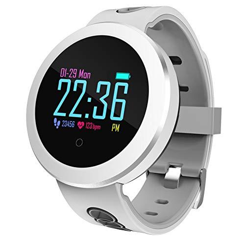 jEZmiSy, Fitness Armband, Sport Smartwatch, Wasserdicht, Herzfrequenz, Blutdruck, Tracker, für iOS9.0 / Android 4.4 und höher - Grau Weiß -