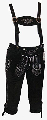Preisvergleich Produktbild Schwarze Kniebund Lederhose - Trachtenhose - schwarze Trachtenlederhose Größe 60 - Trachten Lederhose in schwarz