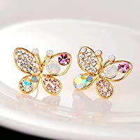 SSEHXL earring Butterfly earrings colorful pearl crystal gifts imitation gifts