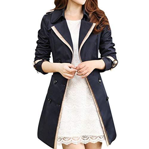 Frauen Herbst und Winter Windbreaker Damen Jacke Mantel Button Long Section Cardigans Oberbekleidung(M,Schwarz)