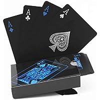 Leezo - Juego de 54 Tarjetas de Juego de PVC Impermeables, Color Negro