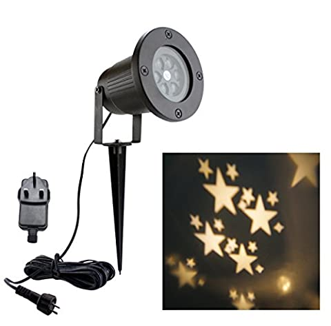 BLOOMWIN Christmas Star Projector Light Warm White Indoor Outdoor Spotlight IP44 Landscape Projector Lamp for Garden,House,Patio,Wedding,Party Decoration