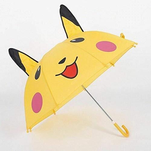 NJSDDB Parapluie de Haute qualité Pokemon Aller Pikachu Dessin animé Enfants Enfants Jaune Pliant à Longue Main Plus Parapluie Dur Cadeau ParasolJaune