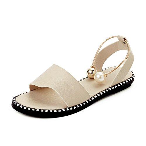 Donna Sandali,Versione Coreana Del Fondo Piatto Scarpe Perla,Scarpe Con La Fibbia Della Cintura A