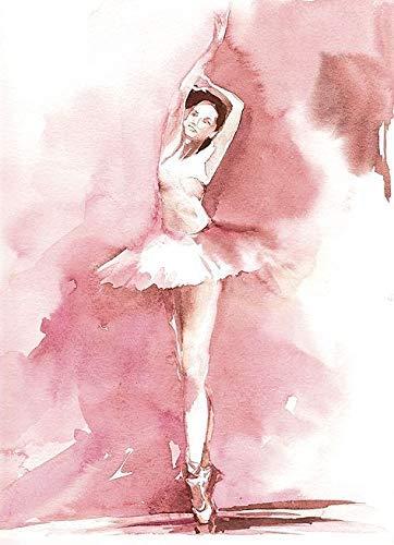 Rahmen-Kunst Keilrahmen-Bild - Sophia Rodionov: Blush Ballerina III Leinwandbild Ballet Tanz Mädchen Frau rosa Aquarell modern