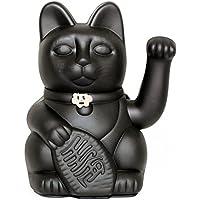 Lucky Cat. Der klassische Glücksbringer in winkender Katzengestallt oder Maneki-Neko in fröhlichen Farben. SCHWARZ: Vermeidet Pech und steigert das Glück. 12x9x18cm