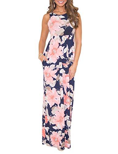 Très Chic Mailanda Sommerkleid Damen Partykleid Lang Chiffon High Waist Striped Sleeveless Beach Kleid Elegant - Chiffon Kleid Im Empire-stil