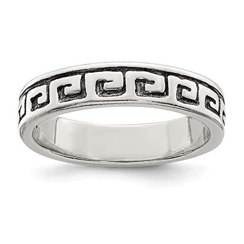 Ring Sterling-Silber 925 griechischer Schlüssel Antik-Stil Größe 9