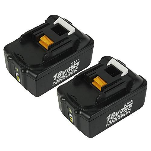 2 Stück BL1850B 18V 5,5Ah Li-ion Ersatzakkus für Makita BL1850 BL1850B BL1860B BL1860 BL1830 BL1840 BL1845 BL1815 BL1820 BL1835 194205-3 LXT-400 18V Akku Werkzeugbatterien mit Indikator