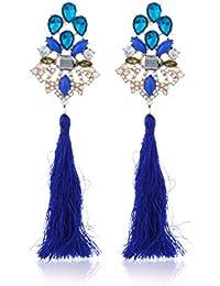 Fasherati Pfau-blaue Kristalloberseite mit langem Troddel-Ohrring für Frauen
