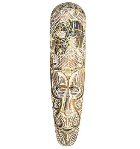 Artisanal Máscara África 50cm Madera, Blanqueado, diseño de Elefantes Negro y Oro.