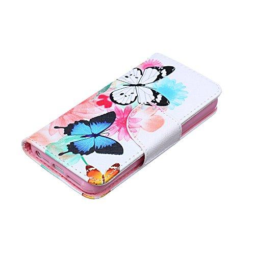 iPhone 6S Coque Cuir Fleur,iPhone 6 Coque Pour Fille,iPhone 6S Case Leather,Wallet Coque Cuir Etui Housse Cover pour iPhone 6S 6,EMAXELERS coloré Papillon Motif Protecteur Flip PU Etui Housse Cuir Étu C Butterfly Feather 3