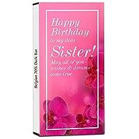 Chocholik Birthday Day Gift – to My Dearest Sister 70% Dark Belgium Chocolate Bar - 100gm (3.5Oz)