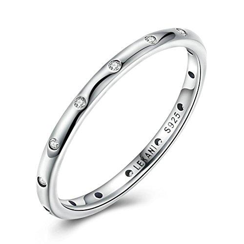 Aeici Weiß Ringe für DaHerren Silber Einfache CZ Größe 52 (16.6)