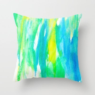 But why miss 18 X 18 Cotton Linen Square Cushion Shell Pillowcase for Artistic Neon Turquoise Yellow Teal Watercolor Neon Soft Shell