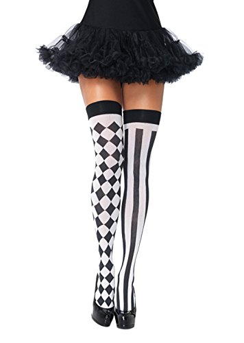 , schwarz, Blickdicht, halterlos mit Satin-Rüschenbesatz und Schleife. (Clown Kostüme Band)