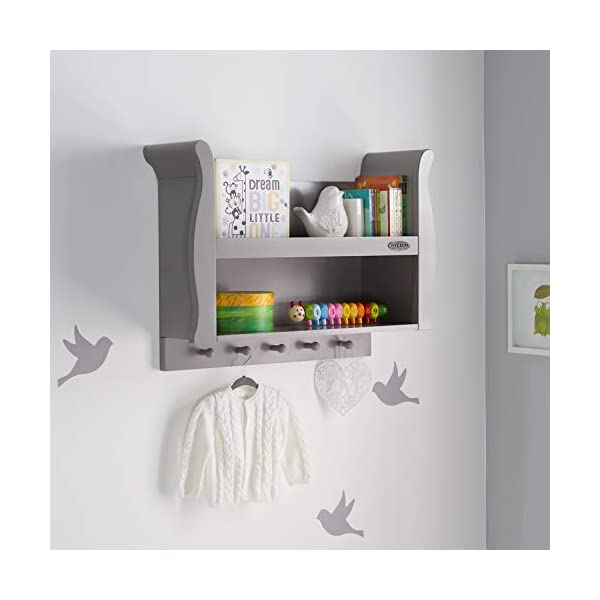 Obaby Stamford Sleigh Shelf - Taupe Grey Obaby 2 shelves provide extra storage for precious possessions Top shelf features a lip at the front for extra security 5 wooden pegs offer additional hanging space below 2