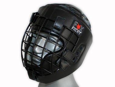 FOX-FIGHT Kopfschutz mit Metallgitterfront für Gesichtsschutz. Headguard aus echtem Leder mit Kopfdeckel. Boxhelm für Kampfsport, MMA, Boxen, Kickboxen & Sparring (S/M)