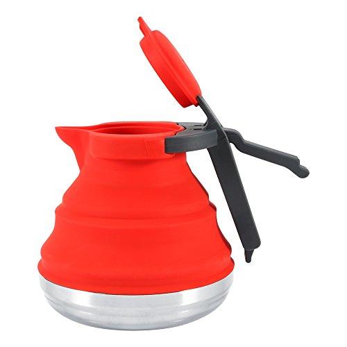 Fdit Bollitore Elettrico Pieghevole da Viaggio, in Silicone Alimentare - Si richiude per riporre in Modo Facile e Comodo Le Escursioni in Campeggio(Red)
