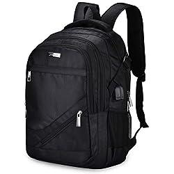 Xnuoyo 45L Mochila Hombre de Viaje, 17,3 Pulgadas Mochila de Ordenador Portátil Impermeable con Puerto USB Mochila Negocio con Gran Capacidad para Deportes Viajes Escolares para Hombres Mujeres, Negro