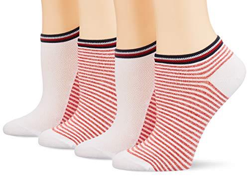 Tommy Hilfiger Damen TH WOMEN RESORT SNEAKER 2P Füßlinge, Weiß (White/Ribbon Red 435), 39/42 (2er Pack)