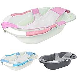 Monsieur Bébé ® Baignoire bébé évolutive avec hamac de bain + grip + vidange - Trois coloris - Norme XP 54-044