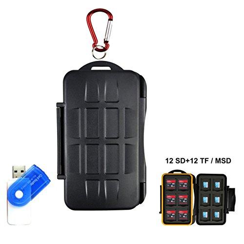LXH Speicherkarten-Etui Halter SD SDHC SDXC CF MSD TF Micro SD-Speicherkarte Computer-Kamera-Kartusche mit Karabiner für 12 SD & 12 TF / Micro SD