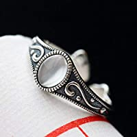 THTHT Vintage 925 Silver Ring Jade Woman Opening Moonstone Fashion Elegant Creative Classic Elegant Ethnic Characteristics