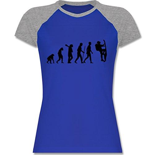 Shirtracer Evolution - Klettern Evolution - Zweifarbiges Baseballshirt/Raglan  T-Shirt für Damen Royalblau