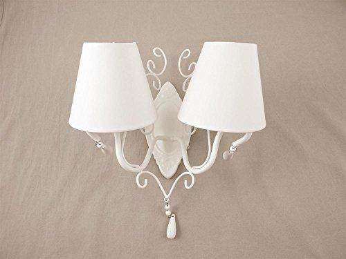 Applique in ferro bianco con 2 lumi con cappuccio bianco, 38x20xh33cm