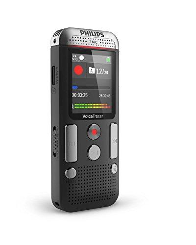 Philips DVT2510 Digitales Diktiergerät (kompaktes Aufnahmegerät, mp3 Recorder, 2 Mikrofon-Stereoaufnahme, Farbdisplay, 8 GB interner Speicher, USB-Anschluss, Plug & Play, Win/Mac/Linux), Anthrazit