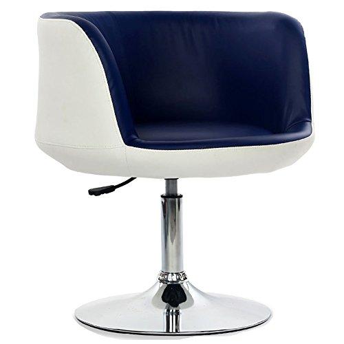 Mena Swivel Chair Moderne PU Leder Computer Stuhl Barhocker, 360 Grad Rotary, Stuhl Höhe verstellbar von 42 bis 58 cm (Farbe : White+Blue, größe : 64cmX64cmX36cm) - Nh Swivel