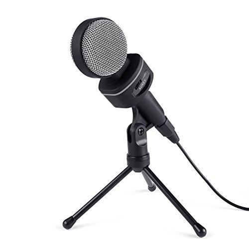 AUKEY Kondensator Mikrofon mit Tischstativ 3.5 mm Kinke für Desktops, Laptops, Smartphones, Tablets (MI-W1, Schwarz & Grau)