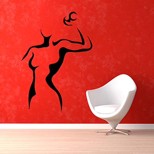 zhuziji Fitness Sports Wall Decal Girls Silhouette with Dumbbell Strong Gym Vinyl Wall Stickers Playroom Kids Rooms Interior Deco 57x41cm (Home Gym-organisation)