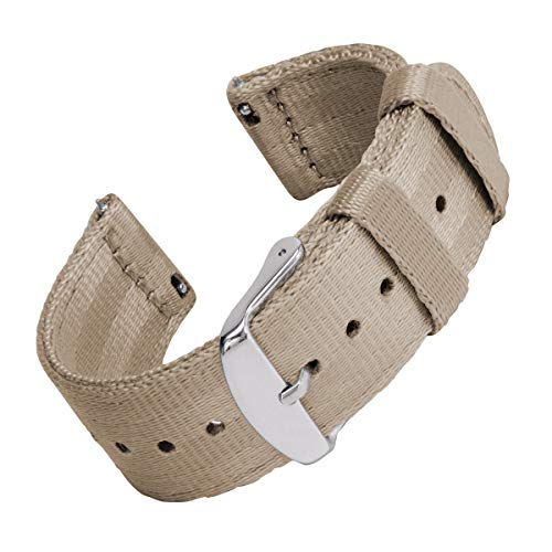 Archer Watch Straps | Sicherheitsgurt Stil gewebtes Nylon Quick Release Ersatz Uhrenarmband für Damen und Herren, Uhrenband für Uhr und Smartwatch | Khaki, 22mm -