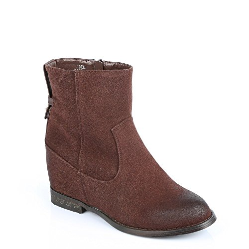 Ideal Shoes–Scarponcini classico semi-compensées in similpelle Genevieve Marrone