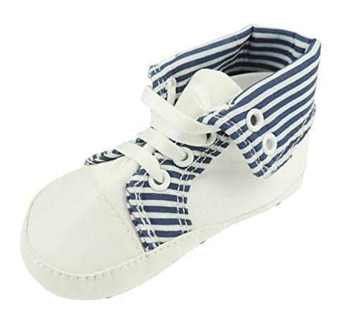 Zapatillas de zapatos para bebés y niños con cordones en la parte superior de arriba abajo, a rayas, color azul claro y blanco Talla:6-9 Months 13